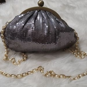 Neiman Marcus silver sequined bag